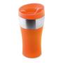 orange style travel mug with stainless steel band