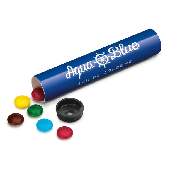Small branded tube filled with chocolate beanies