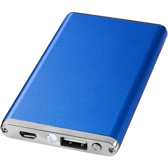 Blue flat rectangular power bank
