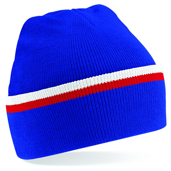 Teamwear Beanie in blue with white and red stripe