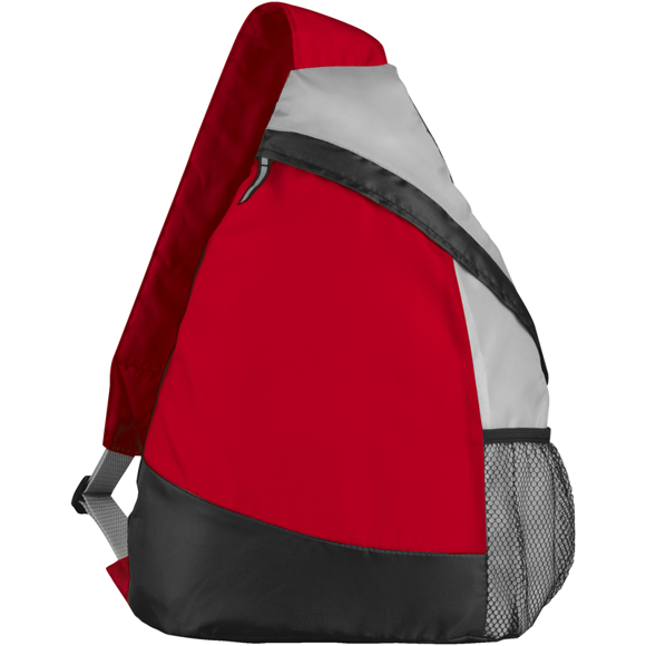 Armada Sling Backpack in red, grey and black