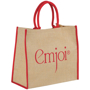 Jute shopper bag with red trim and matching carry handles
