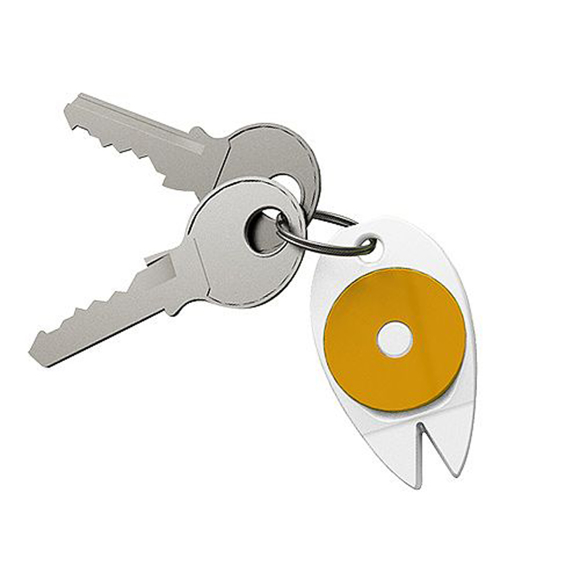 Tick Key Fob in white with orange trolley coin