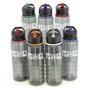 Dark grey drinks bottle available in a range of trim colours