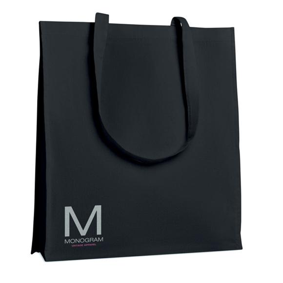 Black cotton shopper with long handles