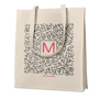 Twill cotton natural shopper bag with large print on the front