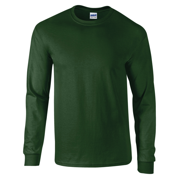 Ultra Soft Adult Long Sleeve T-Shirt in green with taped crew neck