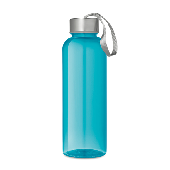 Transparent blue drinks bottle with grey strap and lid