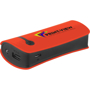 Red power bank with black side trim, personalised with a logo printed on one side