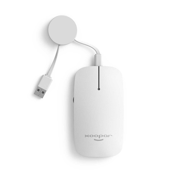 White compact computer mouse with retractable cable