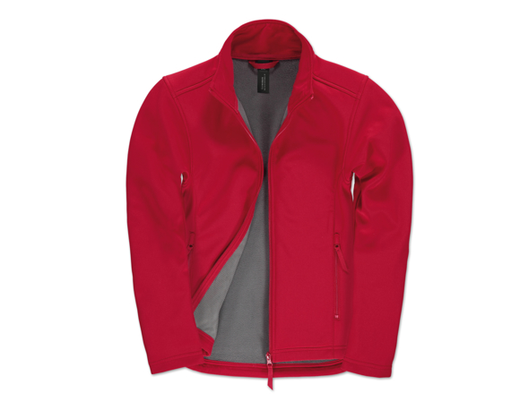 Womens ID 701 Softshell Jacket in red with full front zip and grey inner fleece