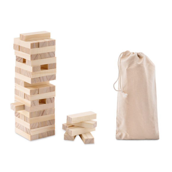 wooden toppling tower game with a large stack of block and a cotton bag