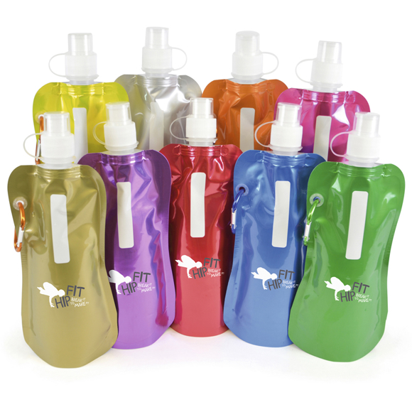 folding drinks pouch in a range of metallic colours