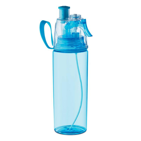 transparent blue water bottle with sprayer on lid