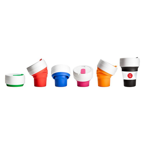 6 collapsible drinks cups in a variety of colours