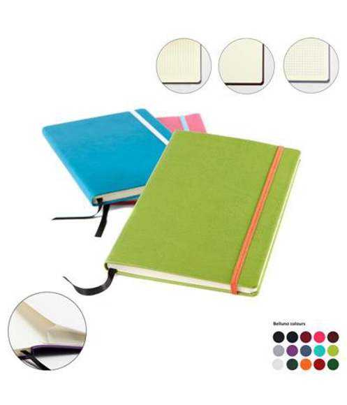 A5 belluno notebooks in various colours and different coloured straps and black ribbon. shows back pocket, lined, plain or squared paper