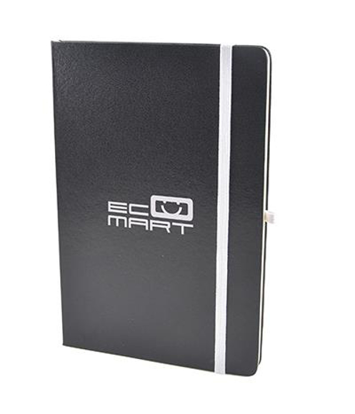 A5 black hardback notebook with white print logo and white elastic closure strap and pen loop