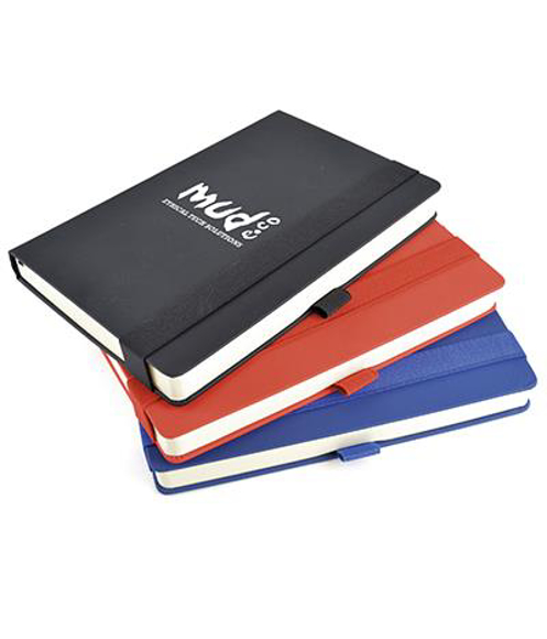A5 maxi mole notebook in black red and blue with colour matching elastic closure strap and pen loop. 1 colour print logo