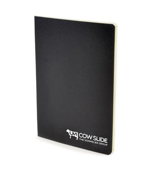 A6 exercise book in black with 1 colour white print logo