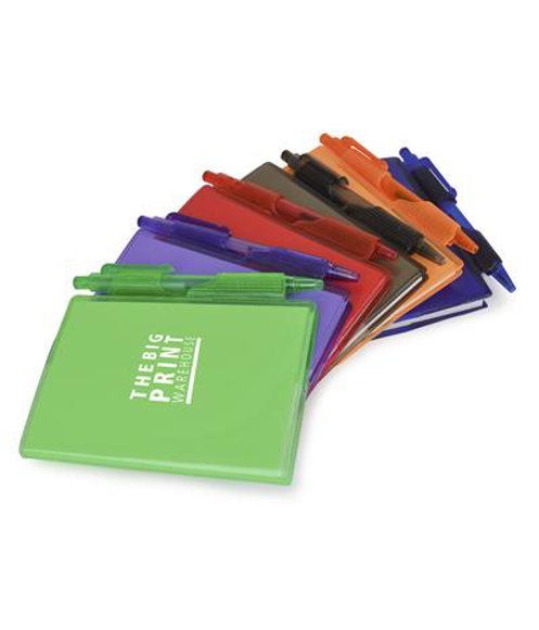 A7 PVC notebooks with green, purple, red, black, orange and blue covers and colour matching pen included and 1 colour print logo