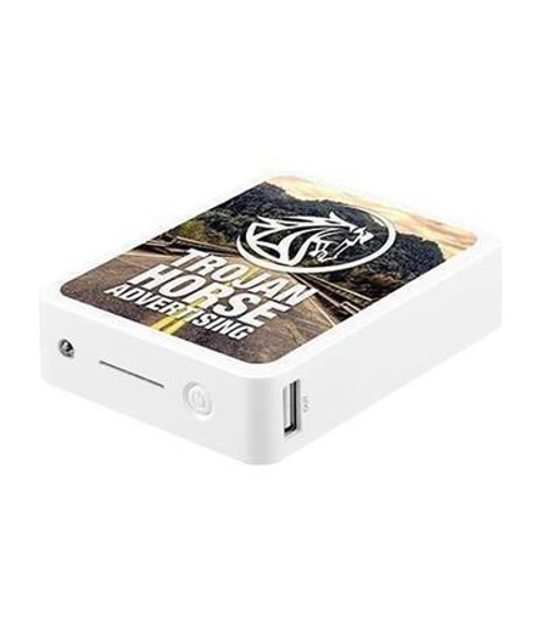 White power bank block with a full colour print to one side