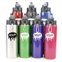 Large metal sports bottle with built in flip lid straw in a variety of colours