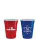 blue and red american party style cups