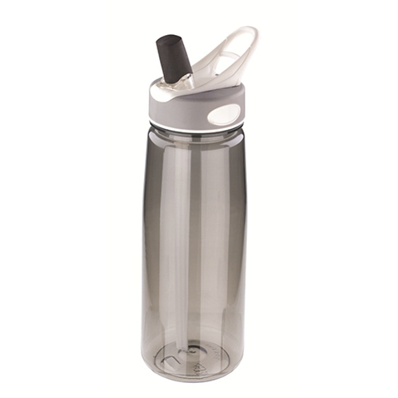 Aqua Water Bottle with grey and white lid and transparent grey body