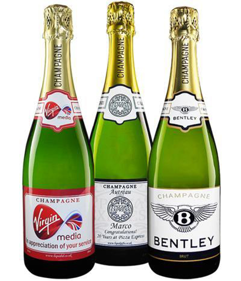 Auntreau NV Champagne with branded full colour stickers