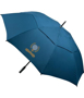 Automatic Vented Golf Umbrella in blue with 2 colour print logo