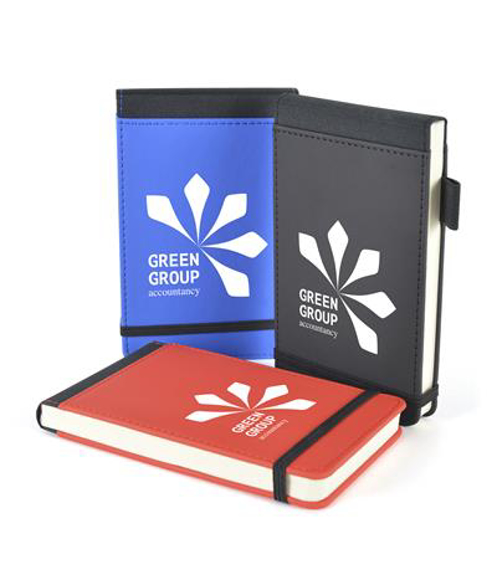 brooke jotter in red, black and blue with black trim, elastic closure strap and pen loop and 1 colour print logo