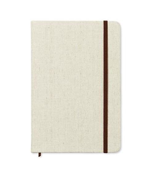 A5 canvas covered notebook and brown strap and ribbon