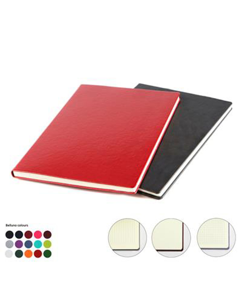A4 leather notebook in black and red showing all other colour options and options of lined, plain or grid paper