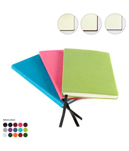 A5 leather notebook in green, pink and blue with black ribbon showing all other colour options and options of lined, plain and grid paper