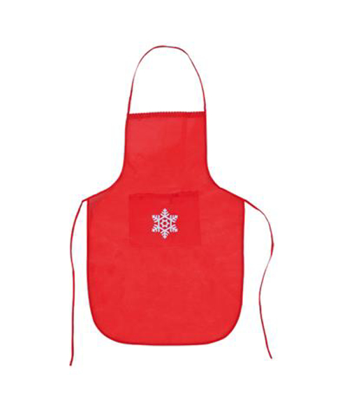Christmas Snowflake Apron in red with white snowflake