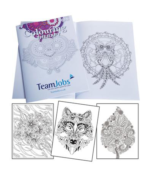 A4 Colouring Therapy Book with example pages and  fill colour print on outer cover