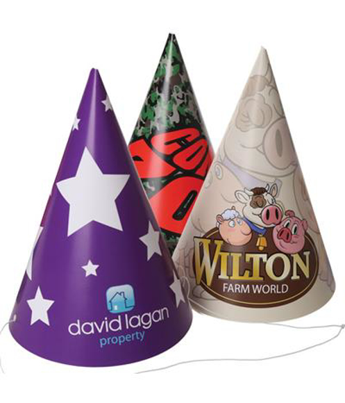 three full colour conical hats