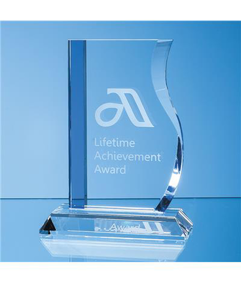 Crystal Blueline Wave Award with engraving