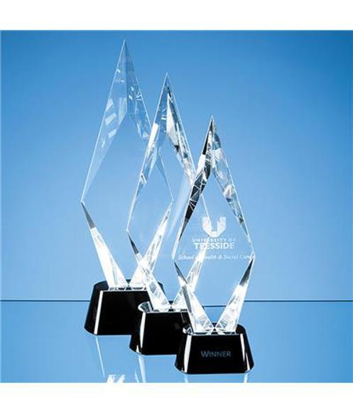 Peak shaped clear crystal award with black glass base