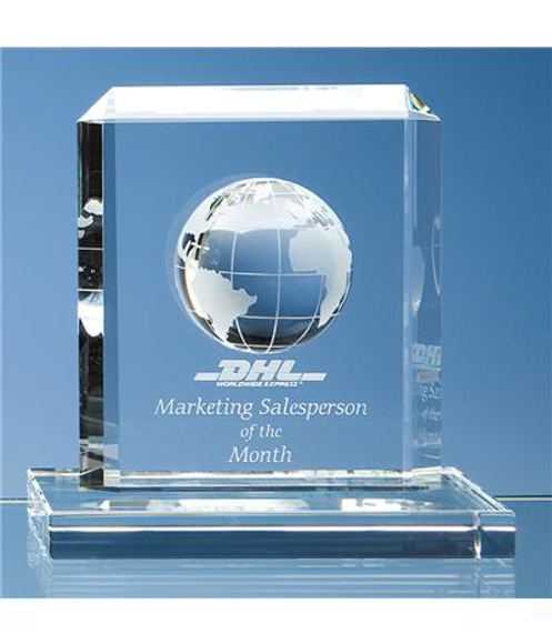 Crystal Globe Rectangle Award with engraving