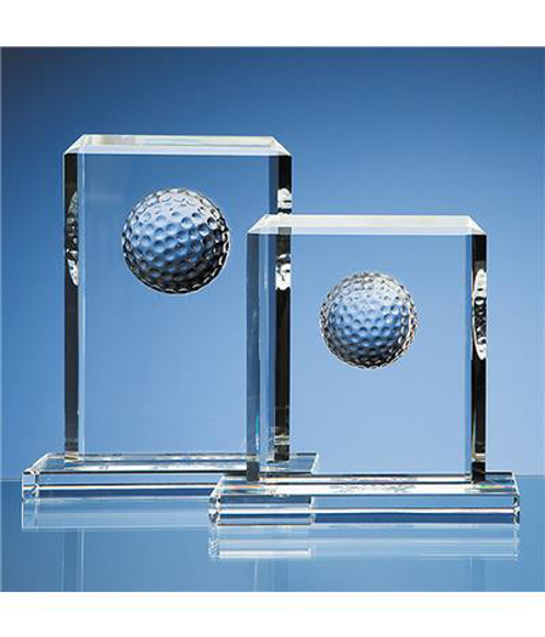 Crystal Golf Ball Rectangle Award