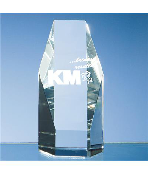 Crystal Hexagon Award with engraving