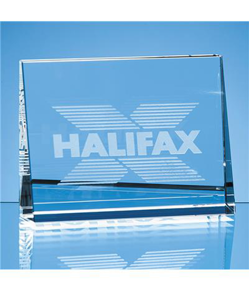 Crystal Horizontal Wedge Paperweight with engraved logo