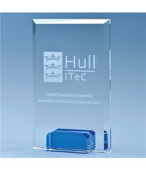 Crystal Rectangle with a Cobalt Blue Base with engraving