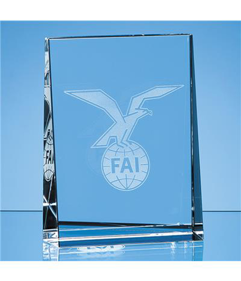 Crystal Vertical Wedge Paperweight with engraving
