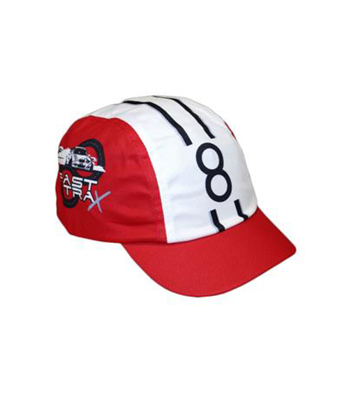 Cycle Cap in red and white with and full colour print logo