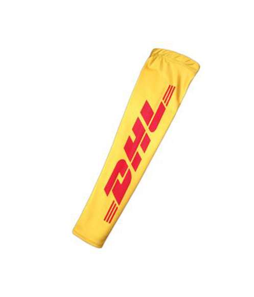 Cycling Arm Sleeves in yellow with 1 colour print logo