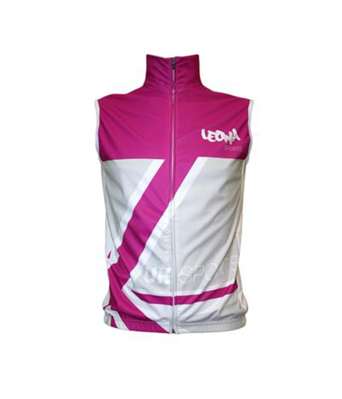 Cycling Gilets in pink and white with 1 colour print logo