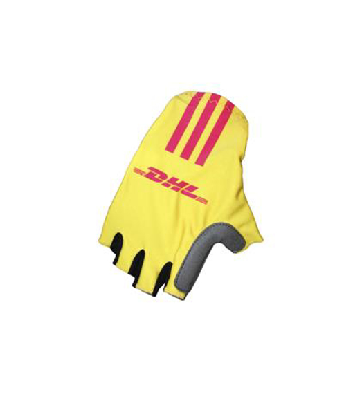 Cycling Gloves in yellow and black with one colour print logo