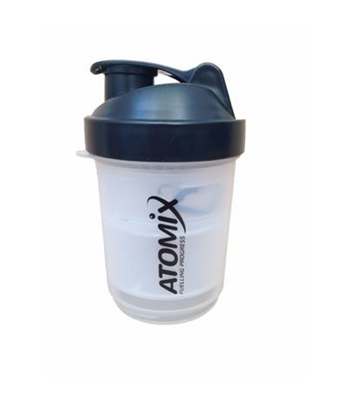 small deluxe protein shaker with black lid and 1 colour logo